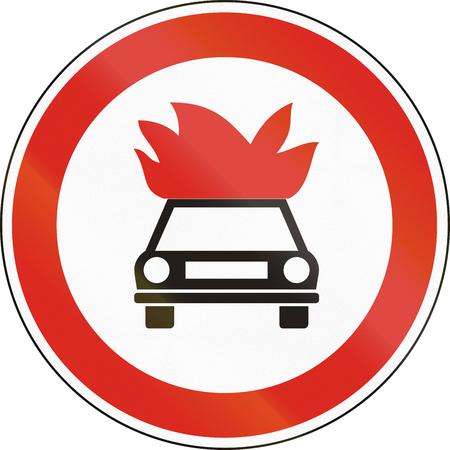 Hungarian regulatory road sign - No vehicles carrying explosive goods. Stock Photo