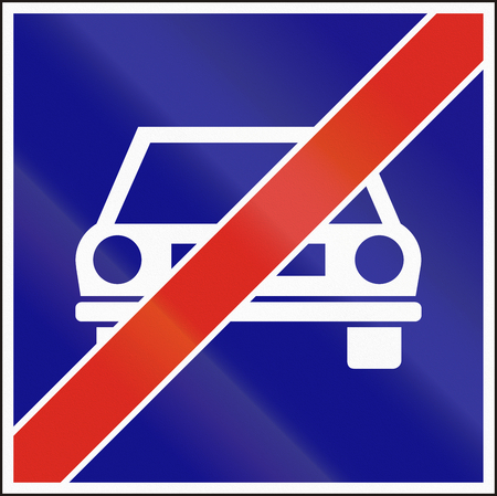 frontal view: Hungarian regulatory road sign - End of main highway. Stock Photo
