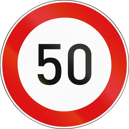 speed limit: Hungarian regulatory road sign - Maximum speed limit. Stock Photo