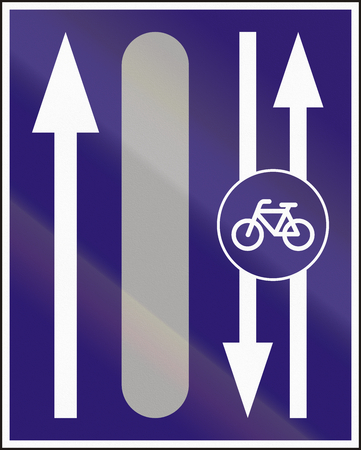 road bike: Informatory Hungarian road sign - Additional two-way bike road.
