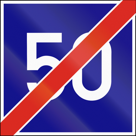 minimum: Road sign used in Hungary - End of minimum speed.
