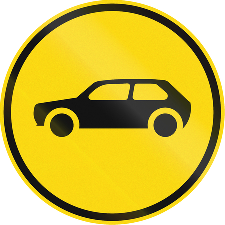 motorcars: Temporary road sign used in the African country of Botswana - Motorcars only.