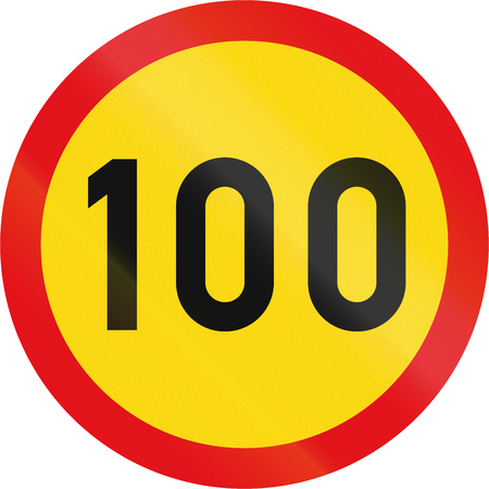 Temporary road sign used in the African country of Botswana - Speed limit.