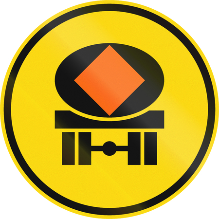 temporary: Temporary road sign used in the African country of Botswana - Vehicles transporting dangerous substances only. Stock Photo