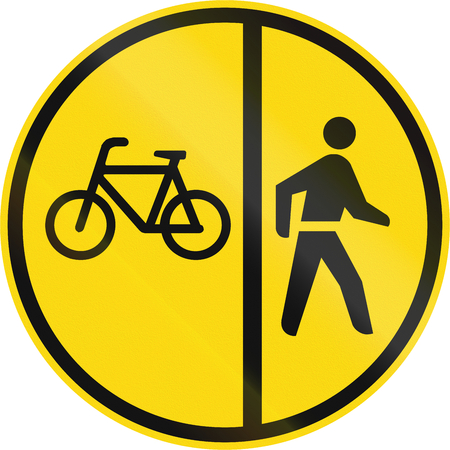 on temporary: Temporary road sign used in the African country of Botswana - Cyclists and pedestrians only.