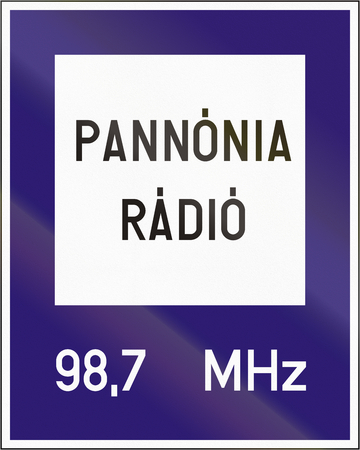 radio station: Road sign used in Hungary - Radio station for road and traffic information. Stock Photo