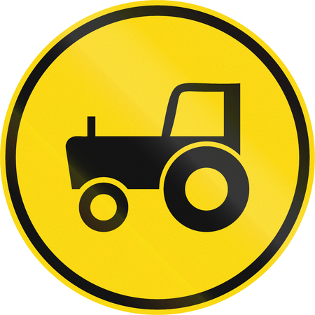 Temporary road sign used in the African country of Botswana - Agricultural vehicles only.