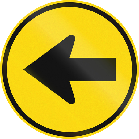 turn left: Temporary road sign used in the African country of Botswana - Turn left. Stock Photo