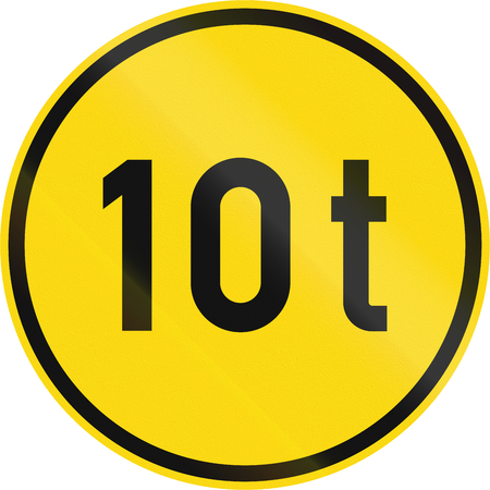 Temporary road sign used in the African country of Botswana - Vehicles exceeding 10 tonnes only.