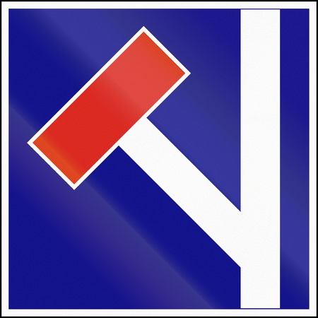 Road sign used in Hungary - No through road to the left. Stock Photo