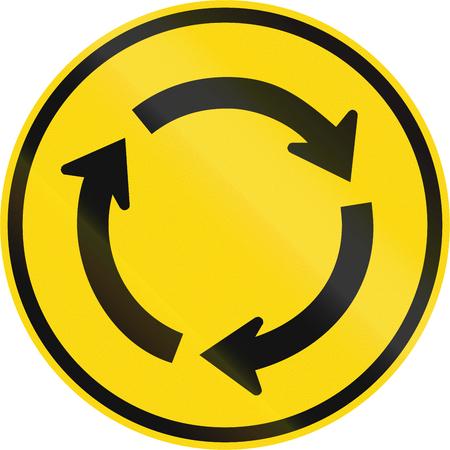 Temporary road sign used in the African country of Botswana - Roundabout.