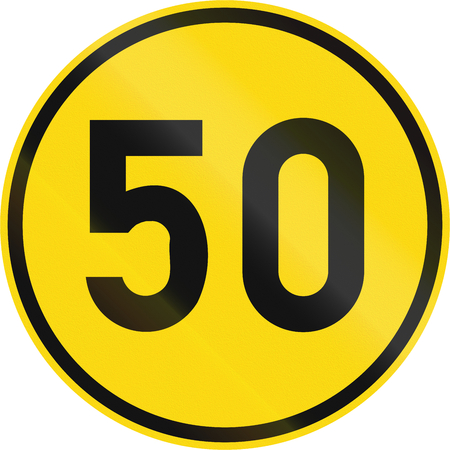 on temporary: Temporary road sign used in the African country of Botswana - Minimum speed limit. Stock Photo