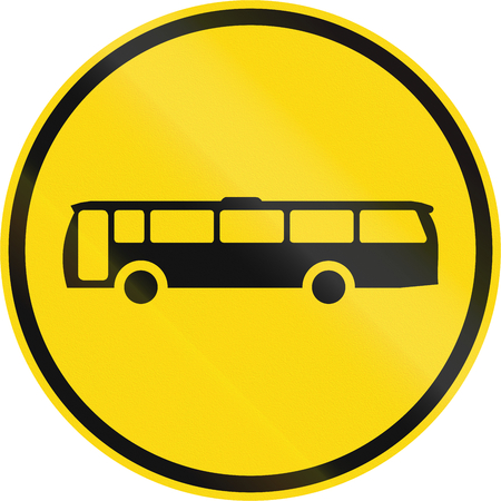 command: Temporary road sign used in the African country of Botswana - Buses only. Stock Photo