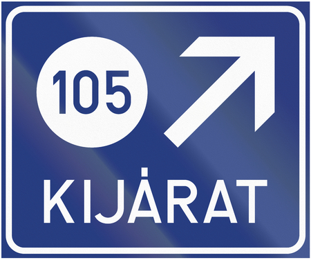 informational: Informational road sign in Hungary - Highway exit.