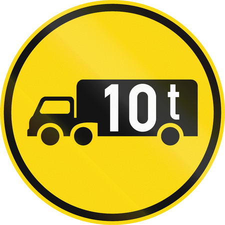 Temporary road sign used in the African country of Botswana - Goods vehicles exceeding 10 tonnes.