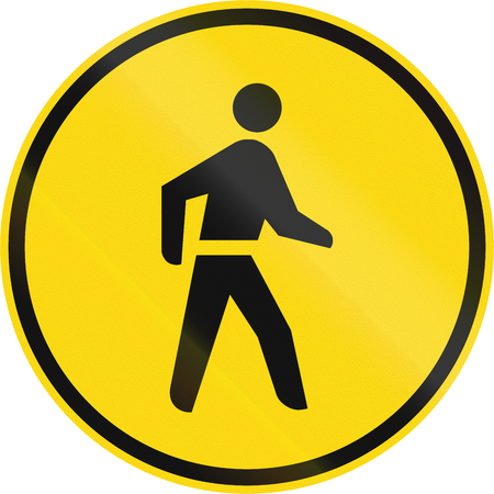 on temporary: Temporary road sign used in the African country of Botswana - Pedestrians only.