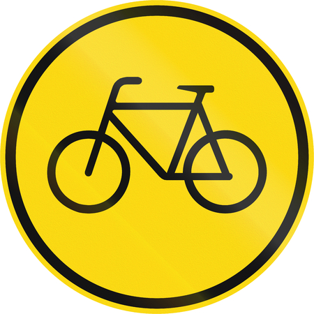 on temporary: Temporary road sign used in the African country of Botswana - Cyclists only.