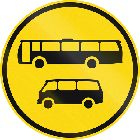 on temporary: Temporary road sign used in the African country of Botswana - Buses and mini-buses only.
