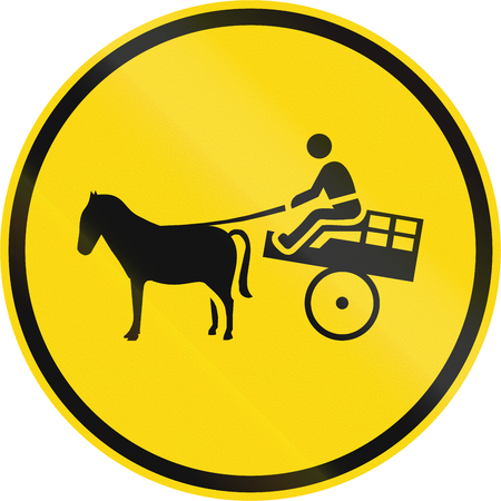 horse pull: Temporary road sign used in the African country of Botswana - Animal-drawn vehicles only.