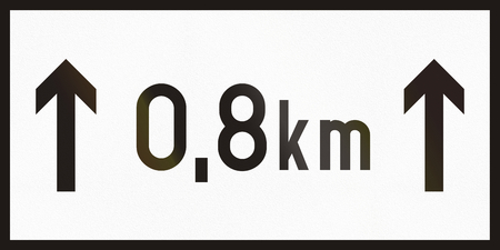 supplementary: Hungarian supplementary road sign - Above sign effective for the duration of the distance shown.