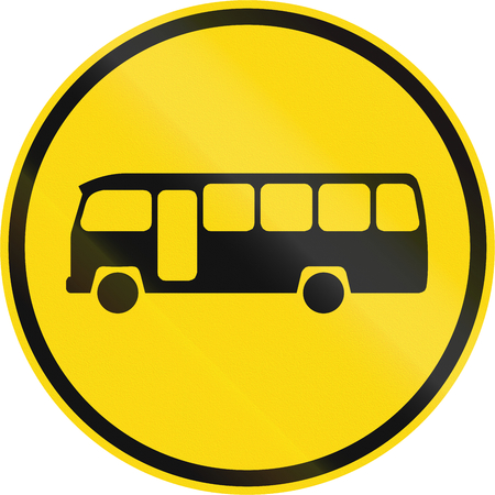 on temporary: Temporary road sign used in the African country of Botswana - Midi-buses only.