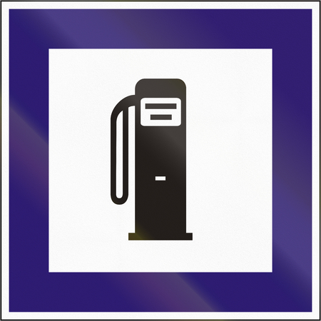 petrol station: Road sign used in Hungary - Petrol station. Stock Photo