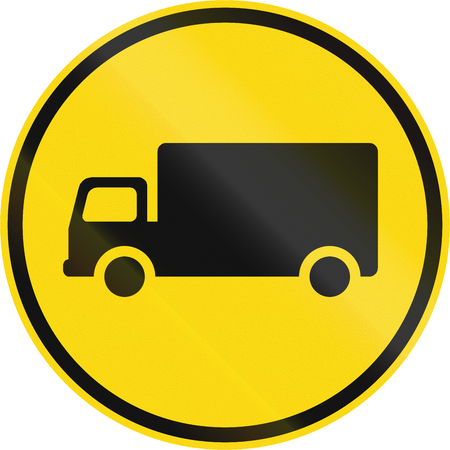 Temporary road sign used in the African country of Botswana - Goods vehicles only.