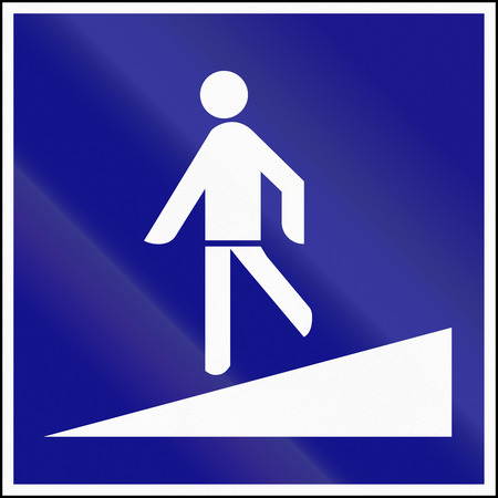 underpass: Road sign used in Hungary - Pedestrian underpass with ramp.