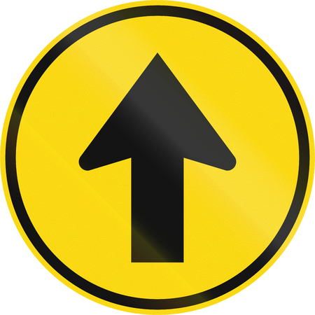 Temporary road sign used in the African country of Botswana - Proceed straight.