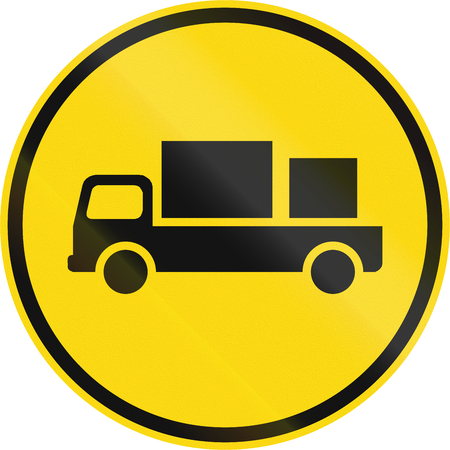 on temporary: Temporary road sign used in the African country of Botswana - Delivery vehicles only.