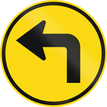 Temporary road sign used in the African country of Botswana - Turn left ahead. Stock Photo