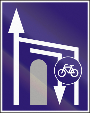 road bike: Informatory Hungarian road sign - Additional two-way bike road ends. Stock Photo