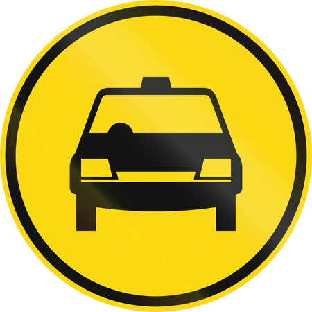 on temporary: Temporary road sign used in the African country of Botswana - Taxis only.