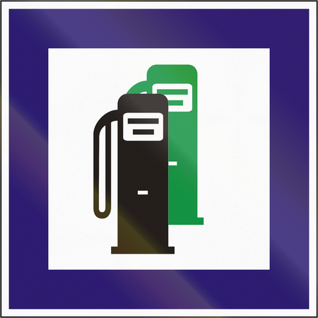 unleaded: Road sign used in Hungary - Petrol station with unleaded petrol. Stock Photo