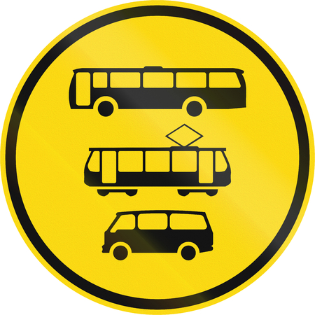 on temporary: Temporary road sign used in the African country of Botswana - Buses, trams and mini-buses only.