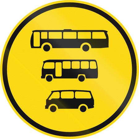 roadworks: Temporary road sign used in the African country of Botswana - Buses, midi-buses and mini-buses only.