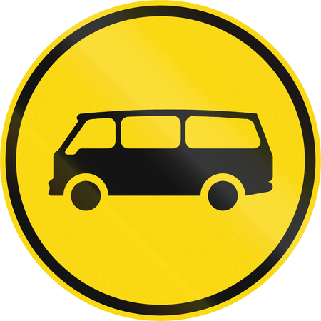 roadworks: Temporary road sign used in the African country of Botswana - Mini-buses only.