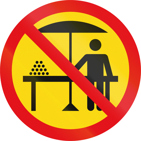 side table: Temporary road sign used in the African country of Botswana - Hawkers prohibited.