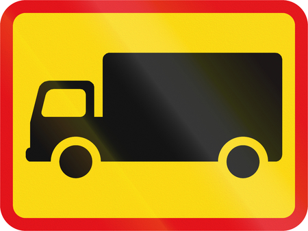 Temporary road sign used in the African country of Botswana - The primary sign applies to goods vehicles. Stock Photo