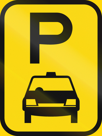 on temporary: Temporary road sign used in the African country of Botswana - Parking for taxis.