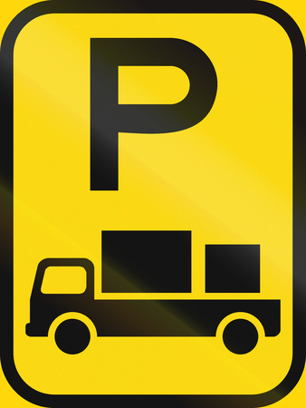 Temporary road sign used in the African country of Botswana - Parking for delivery vehicles.