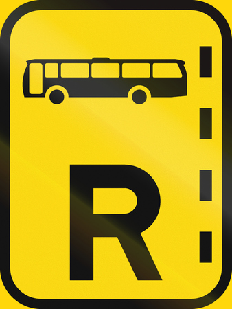 on temporary: Temporary road sign used in the African country of Botswana - Reserved lane for buses.