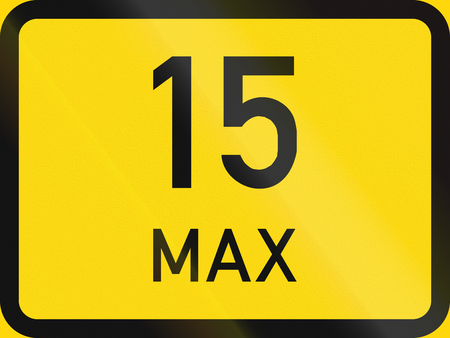temporary: Temporary road sign used in the African country of Botswana - Maximum number of spaces in a parking reservation.