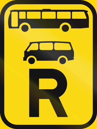 r transportation: Temporary road sign used in the African country of Botswana - Reservation for buses and mini-buses.