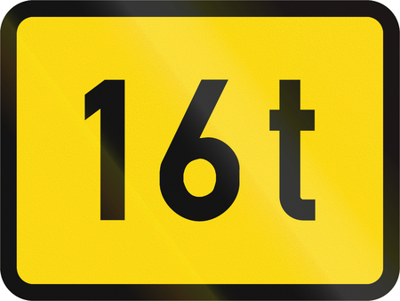 roadworks: Temporary road sign used in the African country of Botswana - The primary sign applies to vehicles exceeding 16 tonnes.