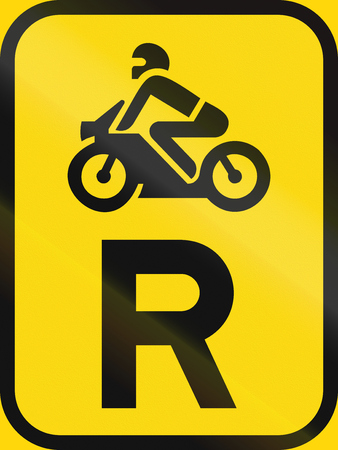 r regulation: Temporary road sign used in the African country of Botswana - Reservation for motorcycles.