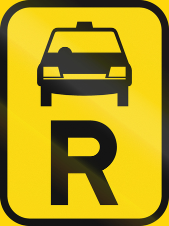 reservation: Temporary road sign used in the African country of Botswana - Reservation for taxis. Stock Photo