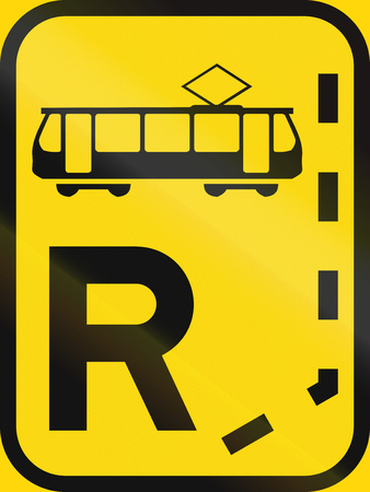 on temporary: Temporary road sign used in the African country of Botswana - Start of a reserved lane for trams.
