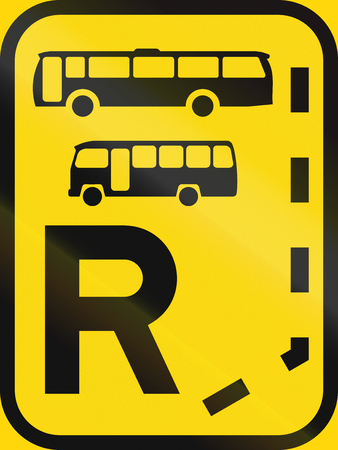 r regulation: Temporary road sign used in the African country of Botswana - Start of a reserved lane for buses and midi-buses. Stock Photo