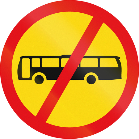Temporary road sign used in the African country of Botswana - Buses prohibited.